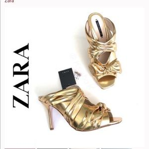 New Zara Gold Metallic Mules